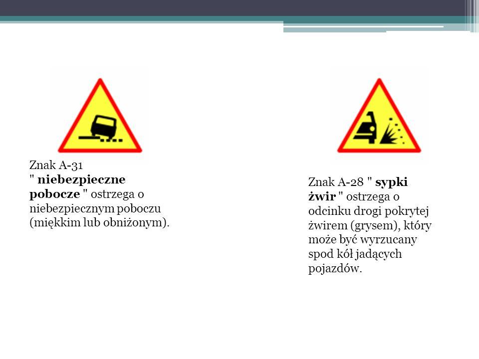 Znak A-31 niebezpieczne pobocze ostrzega o niebezpiecznym poboczu (miękkim lub obniżonym).