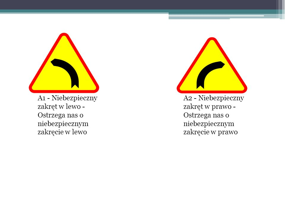 A1 - Niebezpieczny zakręt w lewo - Ostrzega nas o niebezpiecznym zakręcie w lewo
