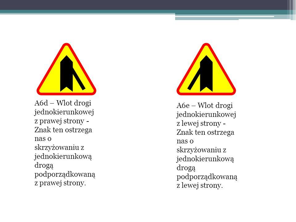 A6d – Wlot drogi jednokierunkowej z prawej strony - Znak ten ostrzega nas o skrzyżowaniu z jednokierunkową drogą podporządkowaną z prawej strony.