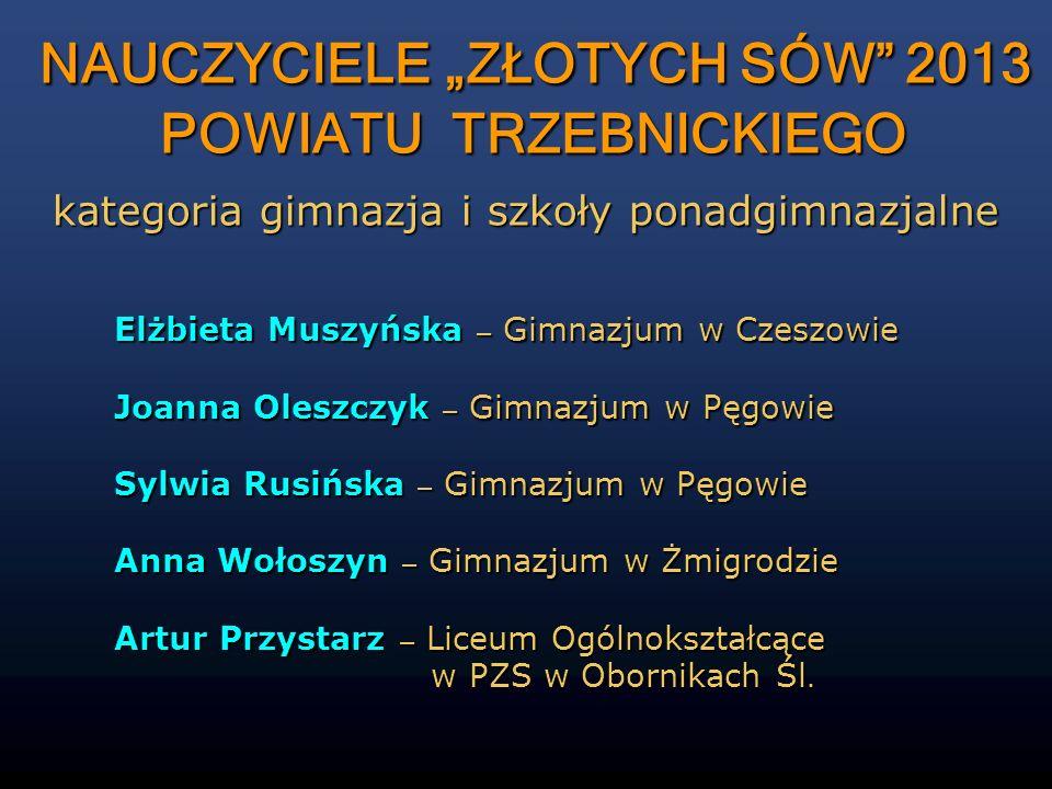 """NAUCZYCIELE """"ZŁOTYCH SÓW 2013 POWIATU TRZEBNICKIEGO"""