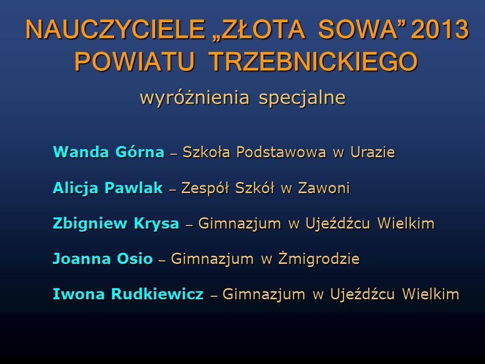 """NAUCZYCIELE """"ZŁOTA SOWA 2013 POWIATU TRZEBNICKIEGO"""