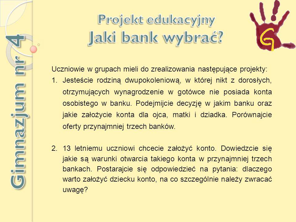 Gimnazjum nr 4 Jaki bank wybrać Projekt edukacyjny