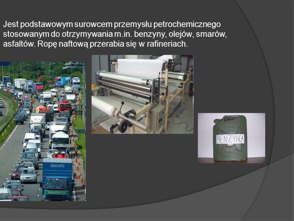 Jest podstawowym surowcem przemysłu petrochemicznego stosowanym do otrzymywania m.in.