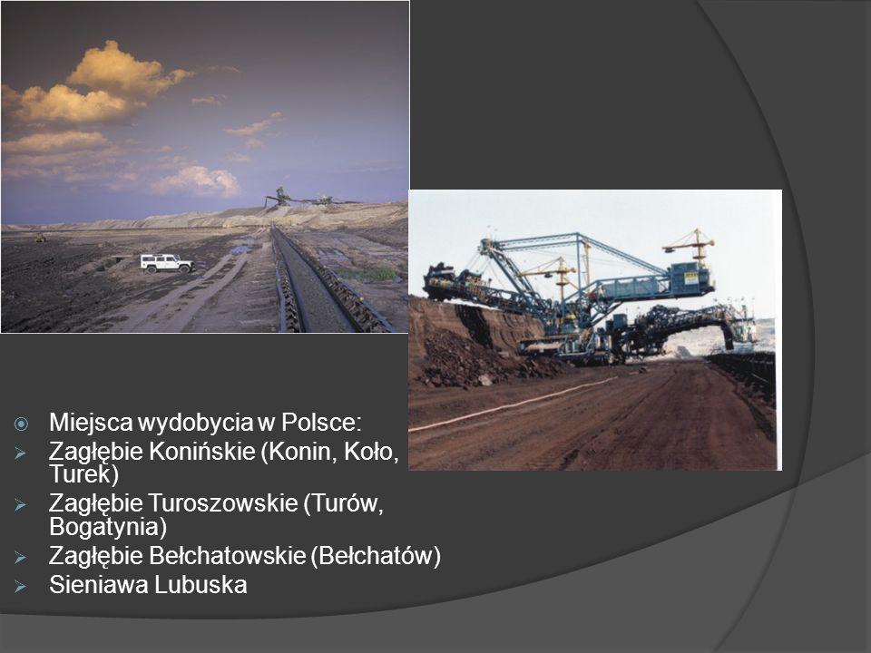 Miejsca wydobycia w Polsce: