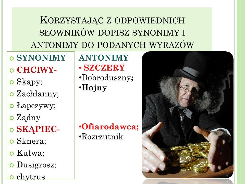 Korzystając z odpowiednich słowników dopisz synonimy i antonimy do podanych wyrazów