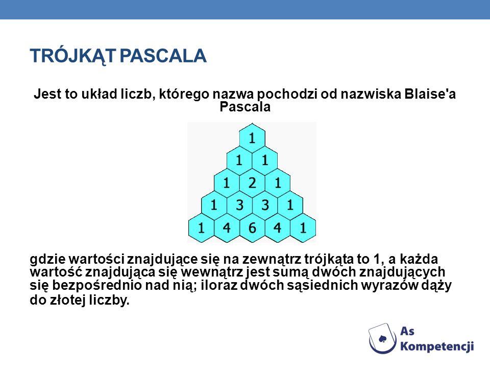 TRÓJKĄT PASCALA Jest to układ liczb, którego nazwa pochodzi od nazwiska Blaise a Pascala.