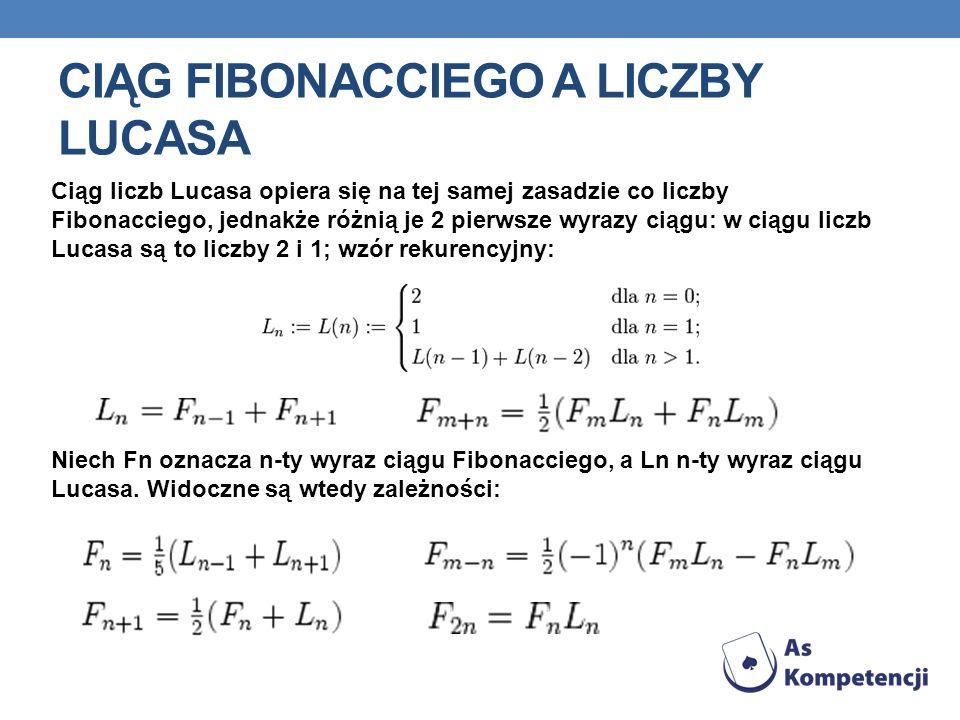 CIĄG FIBONACCIEGO A LICZBY LUCASA