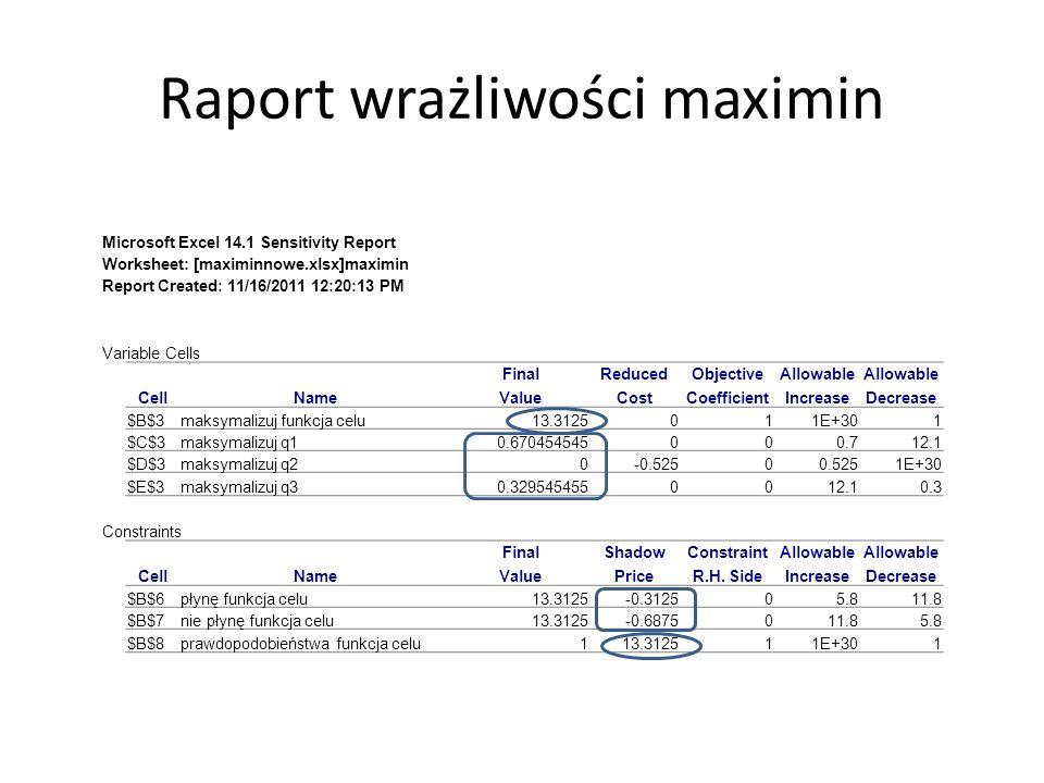 Raport wrażliwości maximin