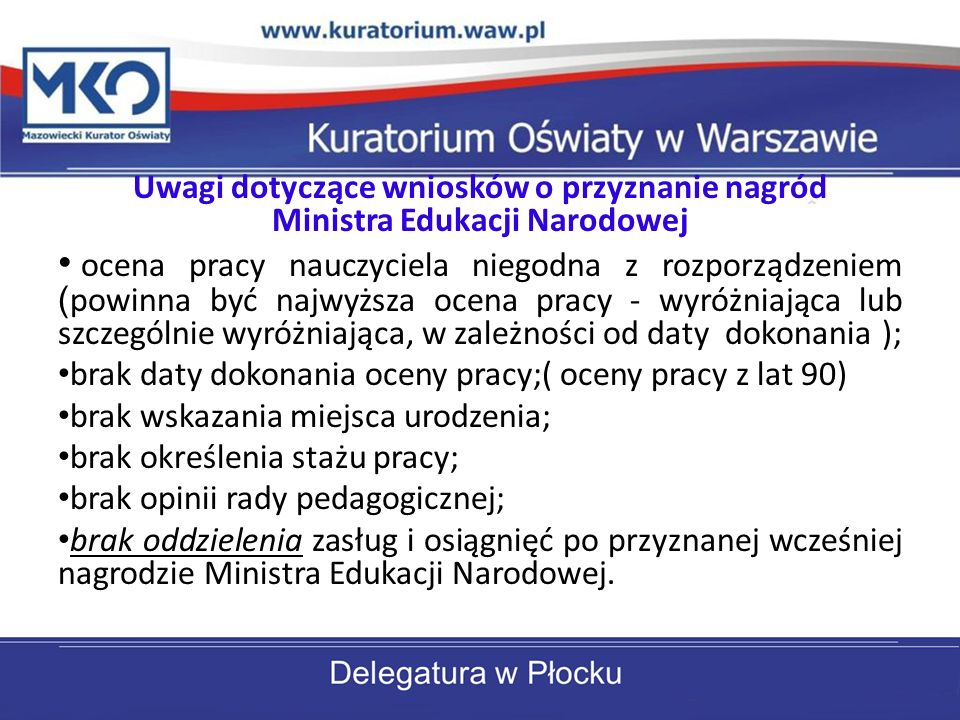 Uwagi dotyczące wniosków o przyznanie nagród Ministra Edukacji Narodowej