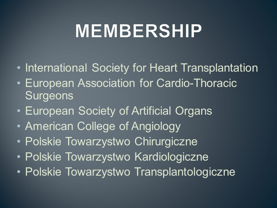 MEMBERSHIP International Society for Heart Transplantation