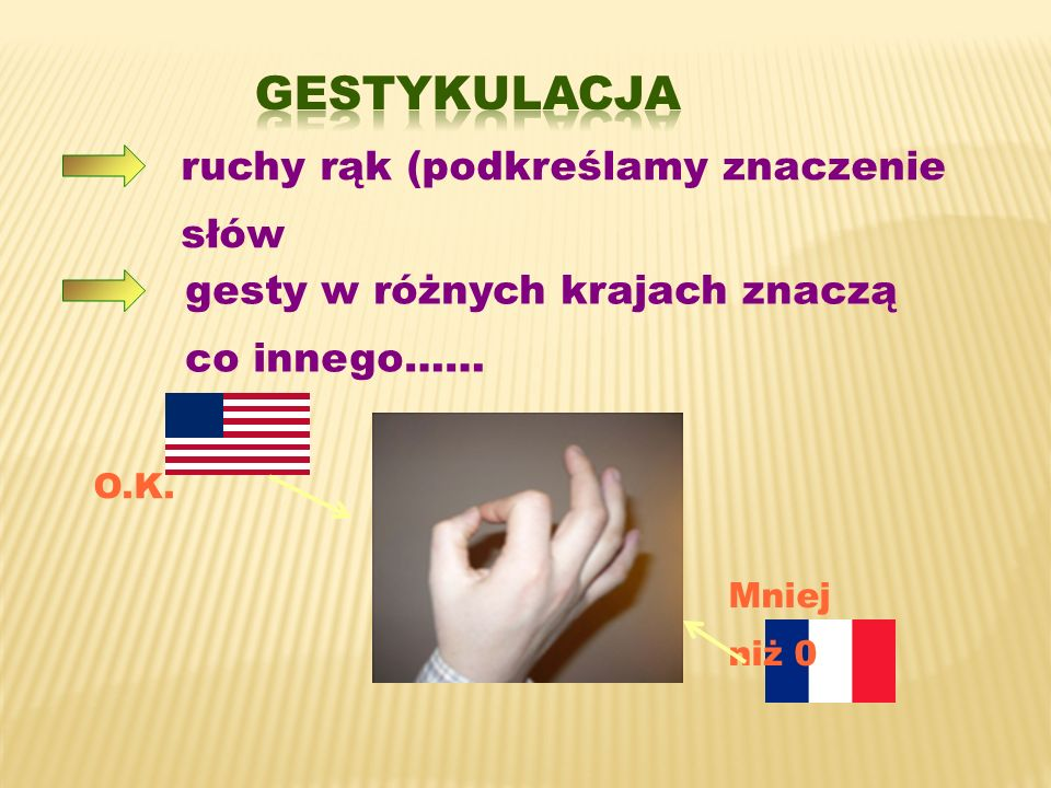 GESTYKULACJA ruchy rąk (podkreślamy znaczenie słów