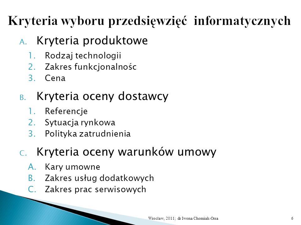 Kryteria wyboru przedsięwzięć informatycznych