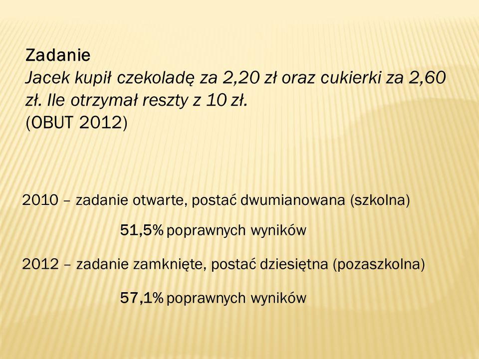 Zadanie Jacek kupił czekoladę za 2,20 zł oraz cukierki za 2,60 zł. Ile otrzymał reszty z 10 zł. (OBUT 2012)