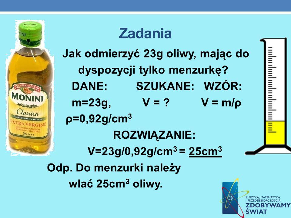 Zadania Jak odmierzyć 23g oliwy, mając do dyspozycji tylko menzurkę