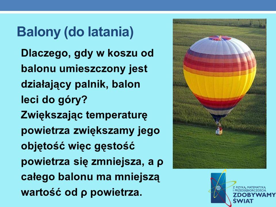 Balony (do latania) Dlaczego, gdy w koszu od balonu umieszczony jest
