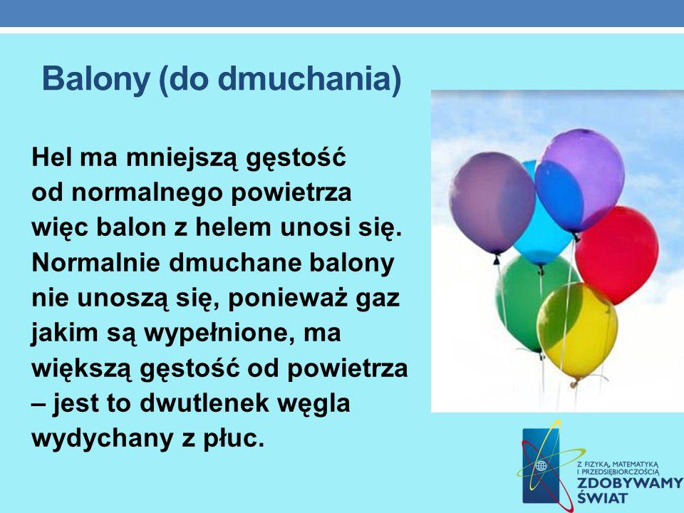 Balony (do dmuchania) Hel ma mniejszą gęstość od normalnego powietrza