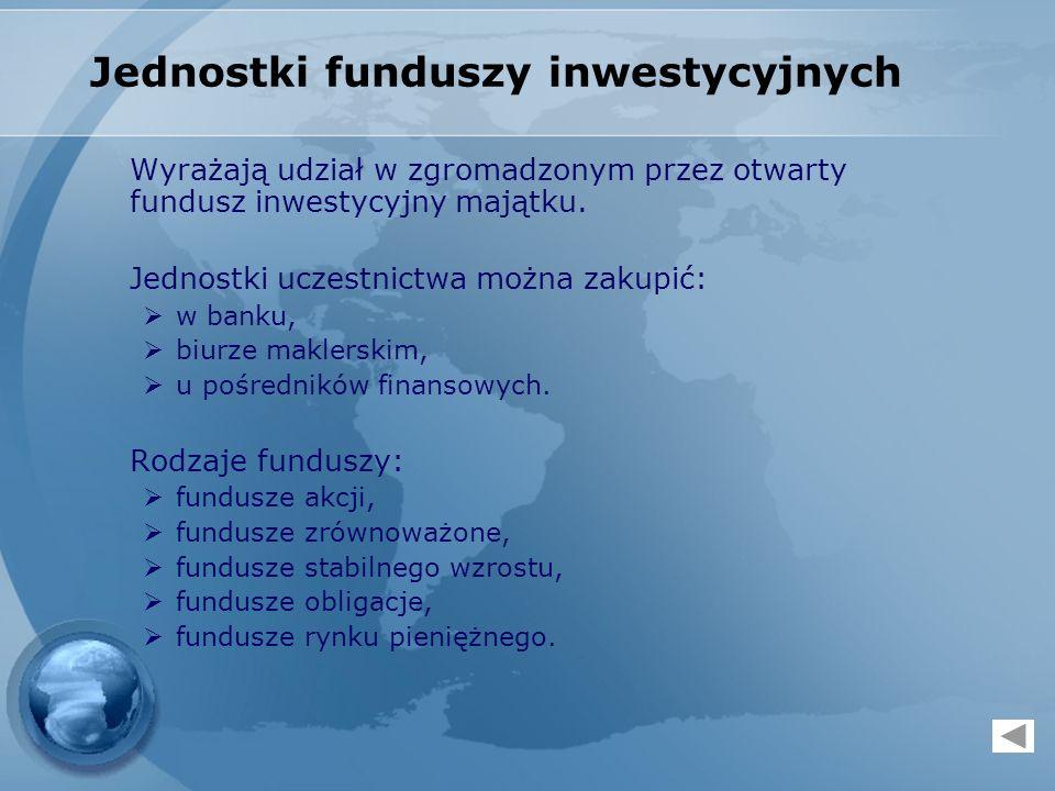 Jednostki funduszy inwestycyjnych