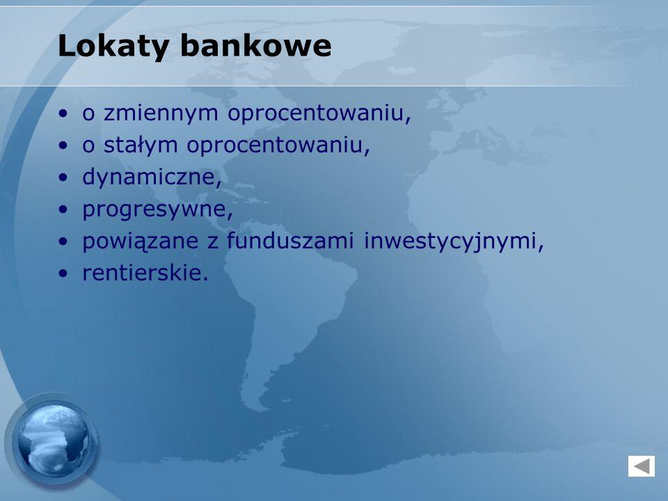 Lokaty bankowe o zmiennym oprocentowaniu, o stałym oprocentowaniu,