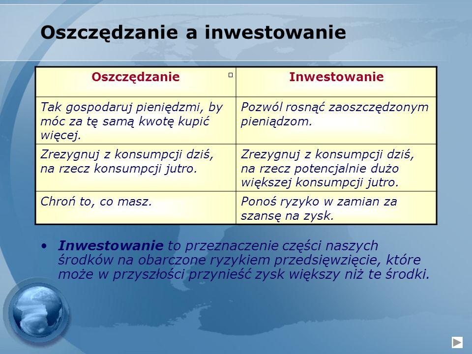 Oszczędzanie a inwestowanie