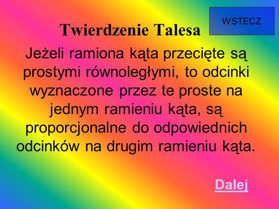 WSTECZ Twierdzenie Talesa.