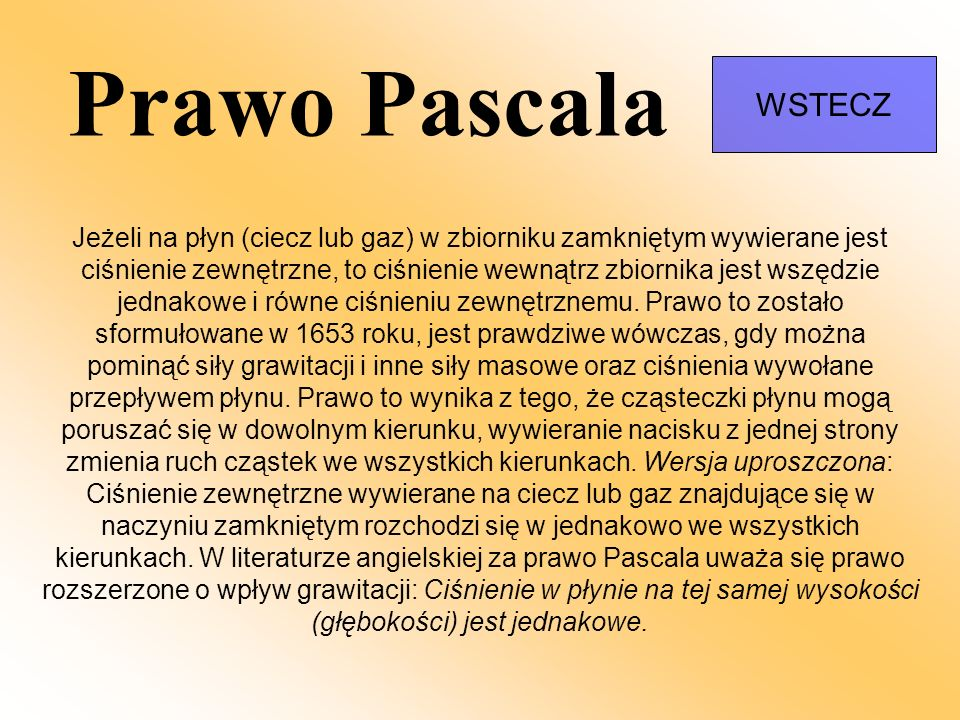 Prawo Pascala WSTECZ.