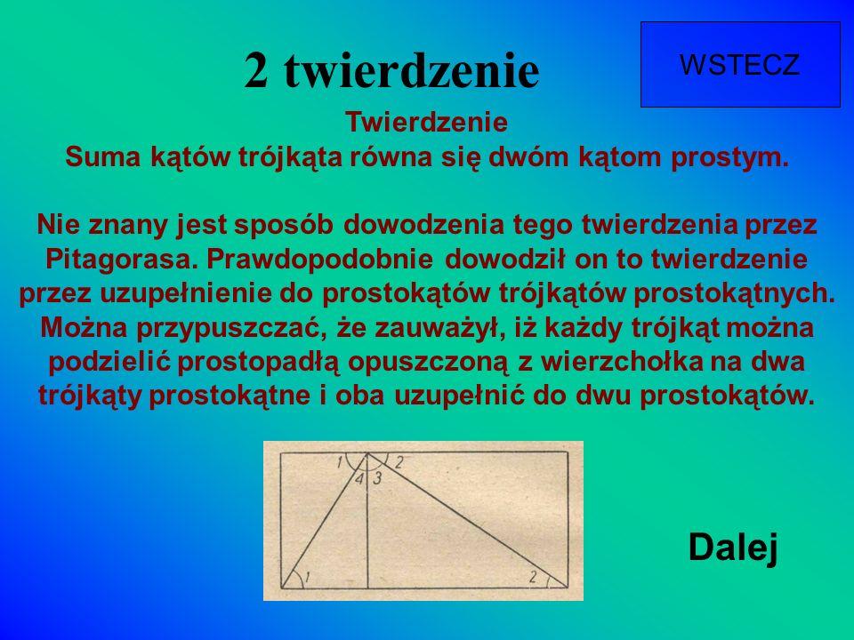 2 twierdzenie Dalej WSTECZ