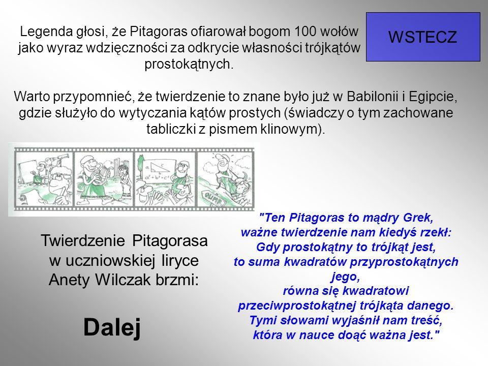 Twierdzenie Pitagorasa w uczniowskiej liryce Anety Wilczak brzmi: