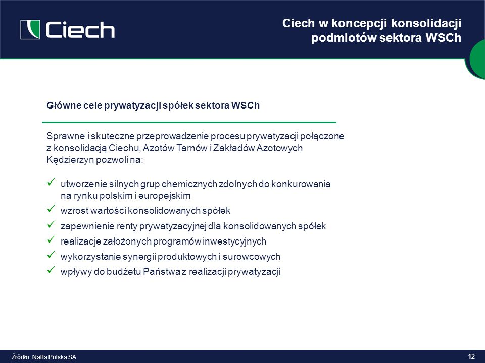Ciech w koncepcji konsolidacji podmiotów sektora WSCh