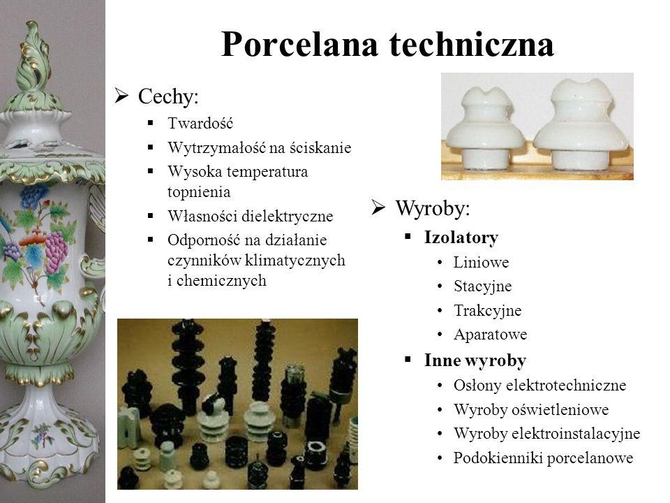 Porcelana techniczna Cechy: Wyroby: Izolatory Inne wyroby Twardość
