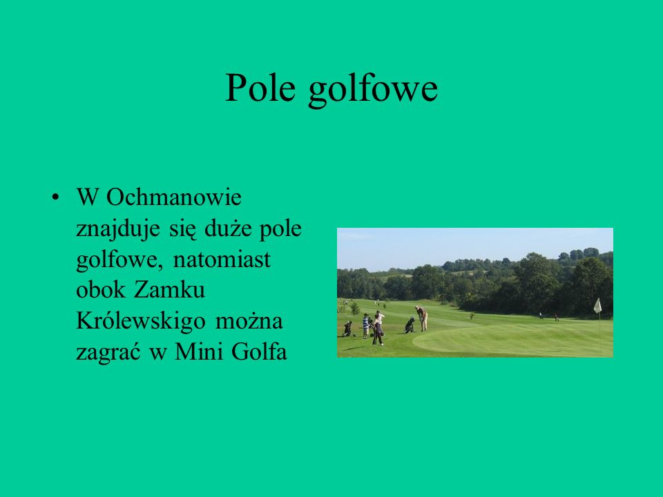 Pole golfowe W Ochmanowie znajduje się duże pole golfowe, natomiast obok Zamku Królewskigo można zagrać w Mini Golfa.