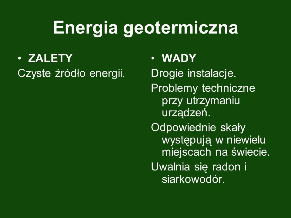 Energia geotermiczna ZALETY Czyste źródło energii. WADY