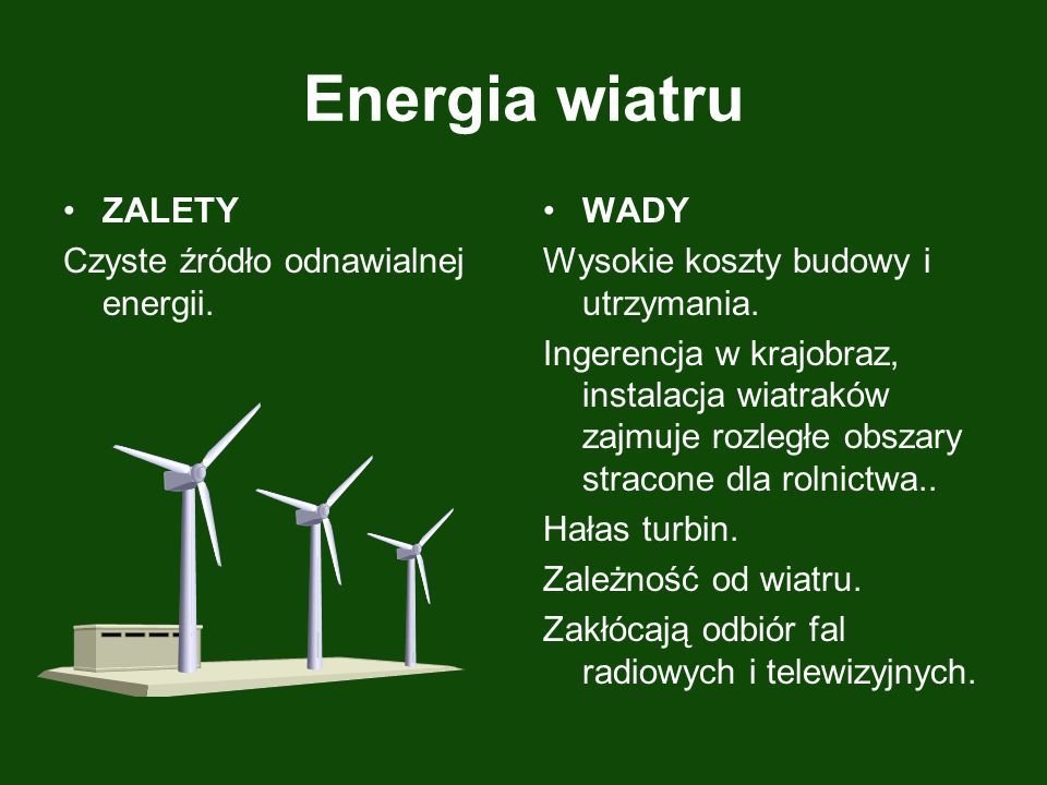 Energia wiatru ZALETY Czyste źródło odnawialnej energii. WADY