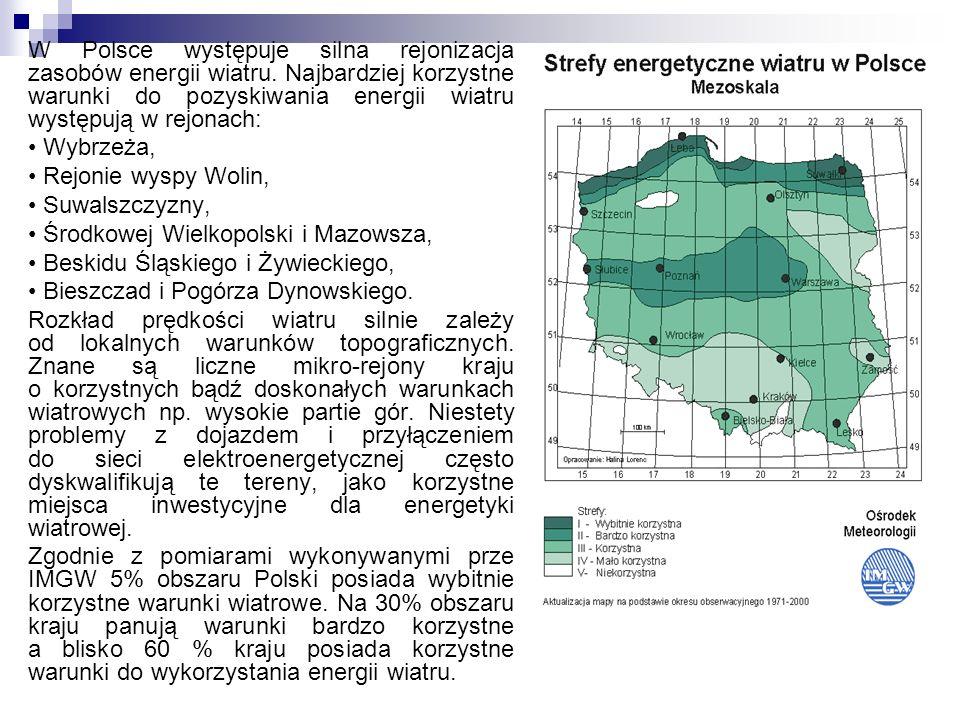 W Polsce występuje silna rejonizacja zasobów energii wiatru