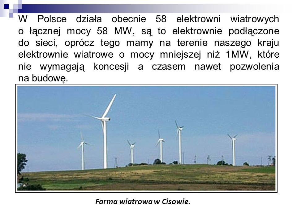 W Polsce działa obecnie 58 elektrowni wiatrowych o łącznej mocy 58 MW, są to elektrownie podłączone do sieci, oprócz tego mamy na terenie naszego kraju elektrownie wiatrowe o mocy mniejszej niż 1MW, które nie wymagają koncesji a czasem nawet pozwolenia na budowę.