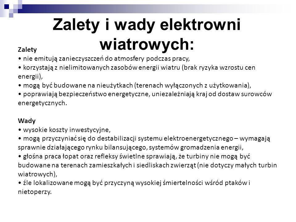 Zalety i wady elektrowni wiatrowych: