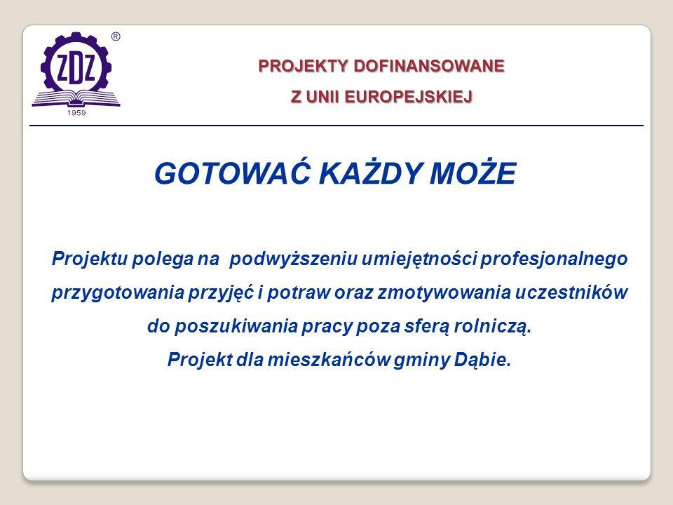 PROJEKTY DOFINANSOWANE Projekt dla mieszkańców gminy Dąbie.