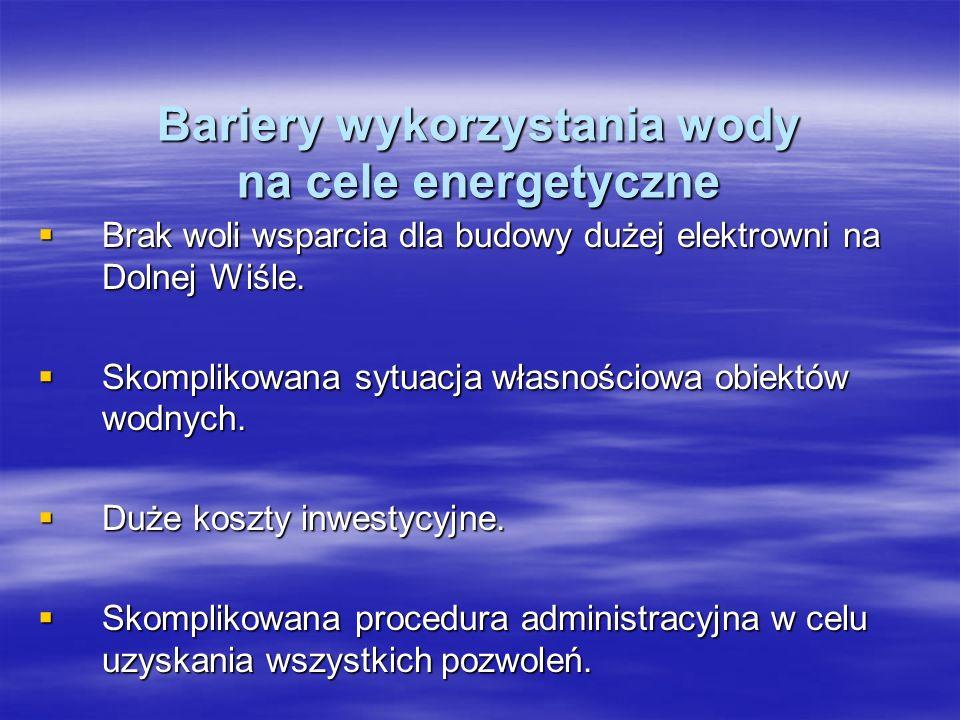 Bariery wykorzystania wody na cele energetyczne