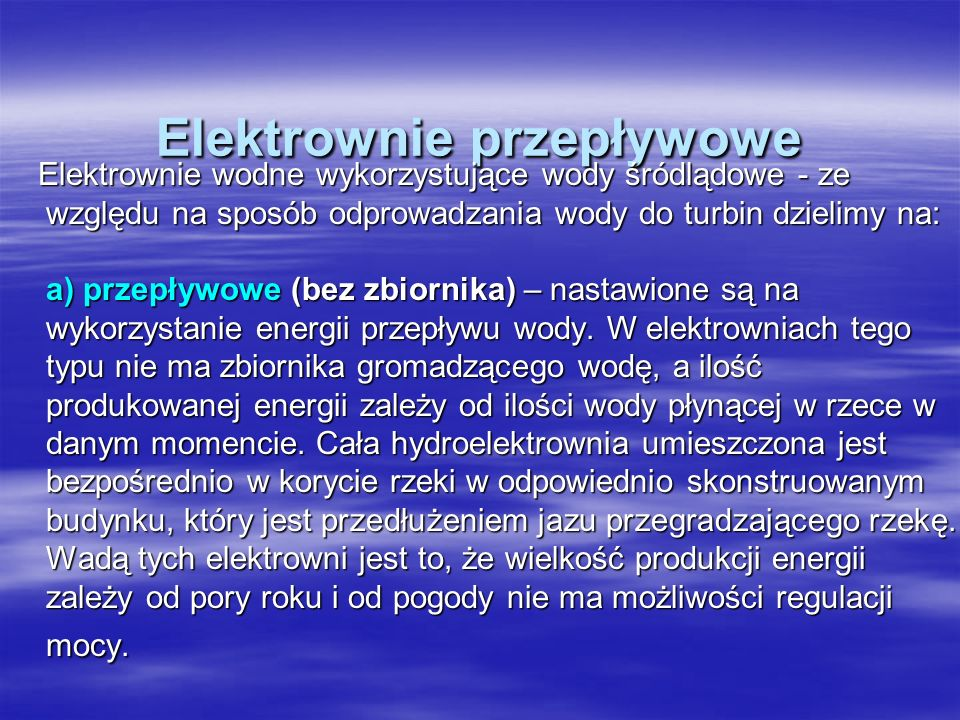 Elektrownie przepływowe