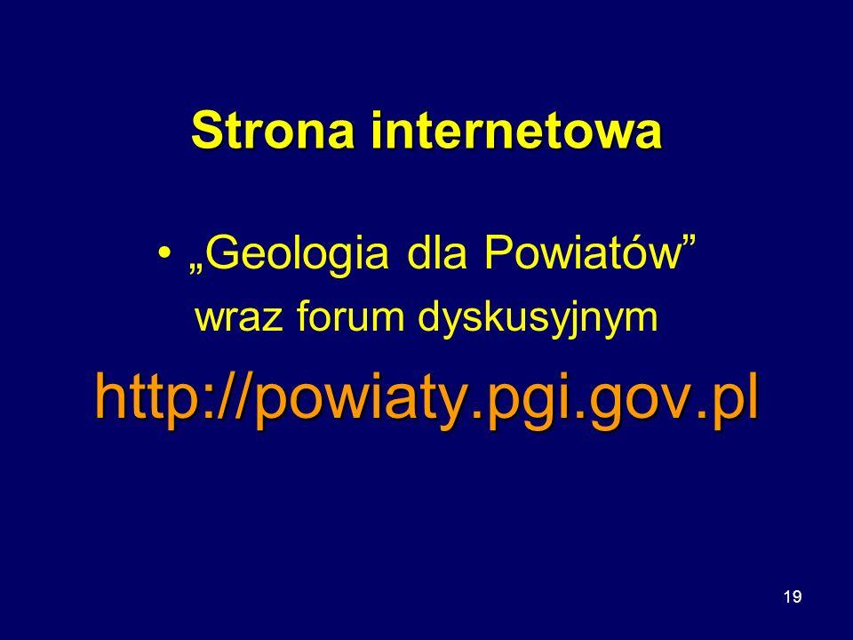 """http://powiaty.pgi.gov.pl Strona internetowa """"Geologia dla Powiatów"""