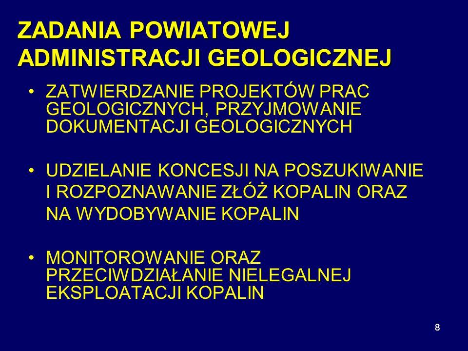 ZADANIA POWIATOWEJ ADMINISTRACJI GEOLOGICZNEJ