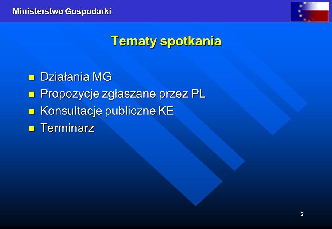 Tematy spotkania Działania MG Propozycje zgłaszane przez PL