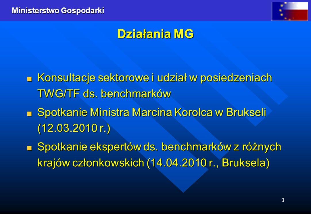 Działania MG Konsultacje sektorowe i udział w posiedzeniach TWG/TF ds. benchmarków. Spotkanie Ministra Marcina Korolca w Brukseli (12.03.2010 r.)