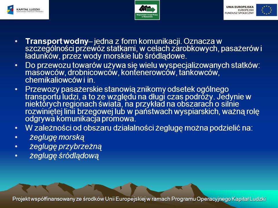 W zależności od obszaru działalności żeglugę można podzielić na: