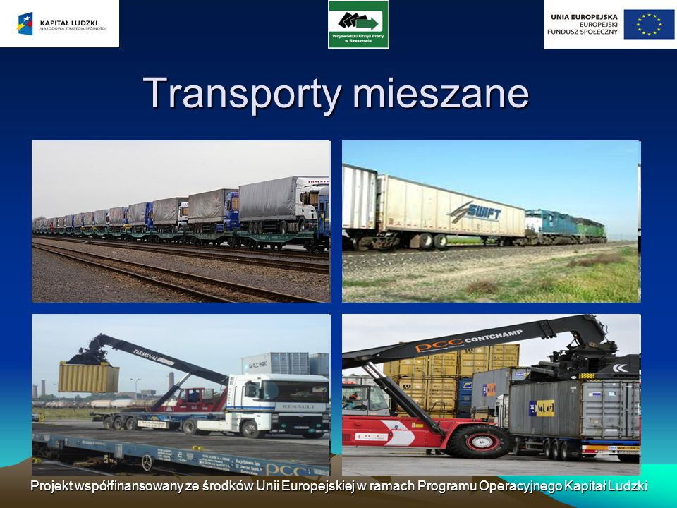 Transporty mieszane Projekt współfinansowany ze środków Unii Europejskiej w ramach Programu Operacyjnego Kapitał Ludzki.