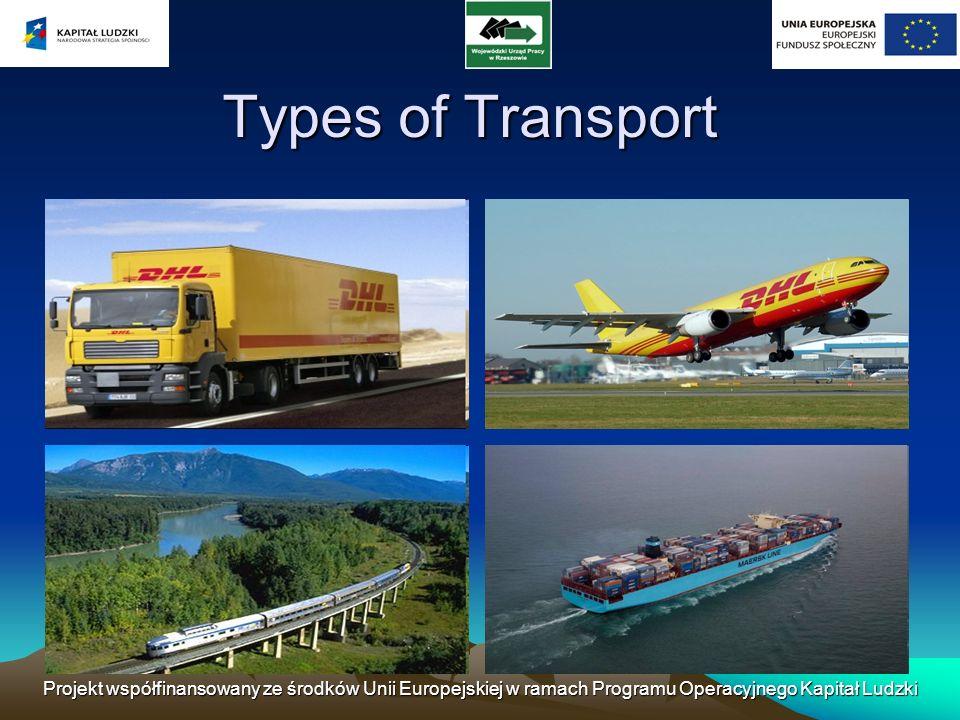 Types of Transport Projekt współfinansowany ze środków Unii Europejskiej w ramach Programu Operacyjnego Kapitał Ludzki.