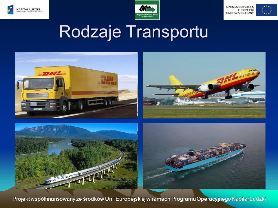Rodzaje Transportu Projekt współfinansowany ze środków Unii Europejskiej w ramach Programu Operacyjnego Kapitał Ludzki.