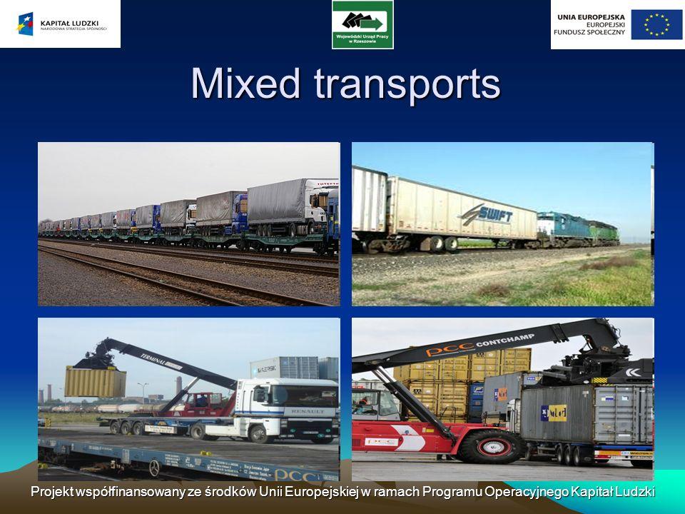 Mixed transports Projekt współfinansowany ze środków Unii Europejskiej w ramach Programu Operacyjnego Kapitał Ludzki.