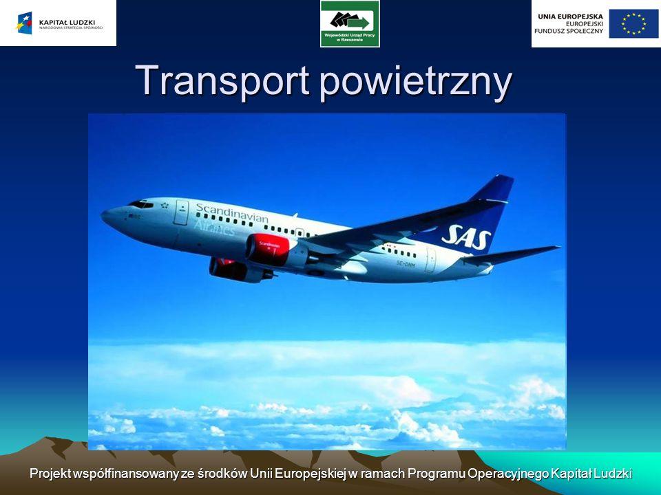 Transport powietrzny Projekt współfinansowany ze środków Unii Europejskiej w ramach Programu Operacyjnego Kapitał Ludzki.