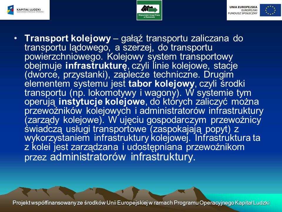 Transport kolejowy – gałąź transportu zaliczana do transportu lądowego, a szerzej, do transportu powierzchniowego. Kolejowy system transportowy obejmuje infrastrukturę, czyli linie kolejowe, stacje (dworce, przystanki), zaplecze techniczne. Drugim elementem systemu jest tabor kolejowy, czyli środki transportu (np. lokomotywy i wagony). W systemie tym operują instytucje kolejowe, do których zaliczyć można przewoźników kolejowych i administratorów infrastruktury (zarządy kolejowe). W ujęciu gospodarczym przewoźnicy świadczą usługi transportowe (zaspokajają popyt) z wykorzystaniem infrastruktury kolejowej. Infrastruktura ta z kolei jest zarządzana i udostępniana przewoźnikom przez administratorów infrastruktury.