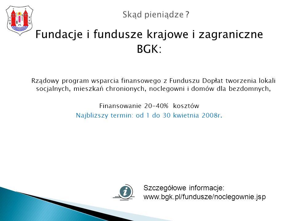 Fundacje i fundusze krajowe i zagraniczne BGK:
